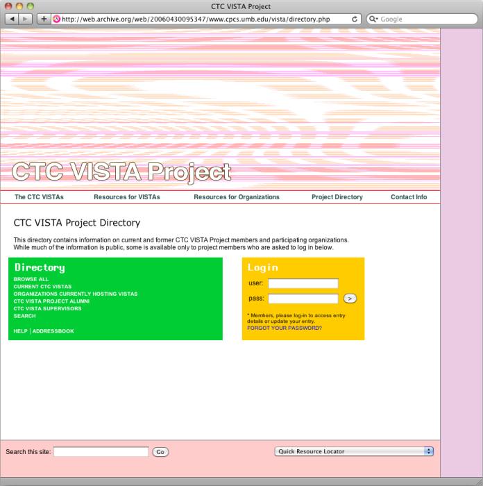 ctc-vista-project-directory-login