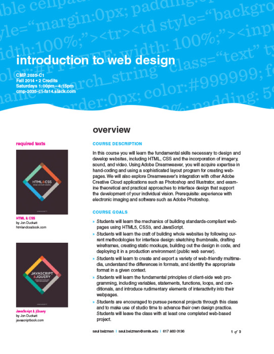 Web Design Syllabus Pdf